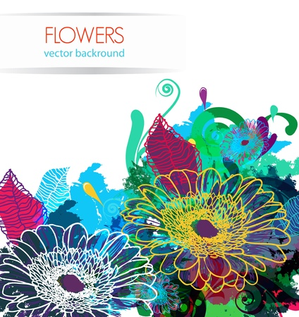 gerber flowers: Abstract light vector  background with drawing flowers