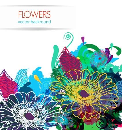 splash paint: Fleurs de dessin sur fond abstraite vecteur lumineux