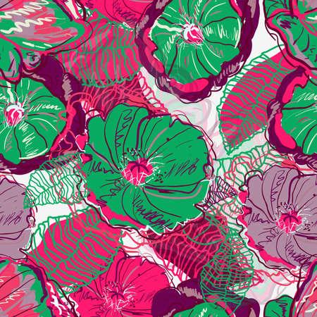 canvas print: Textura transparente abstracto con flores Vectores