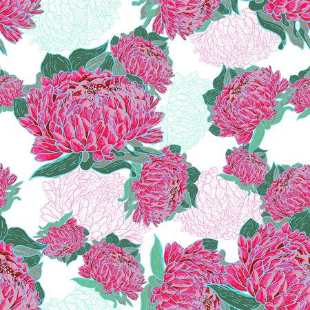 Pink seamless texture with flowers Vector