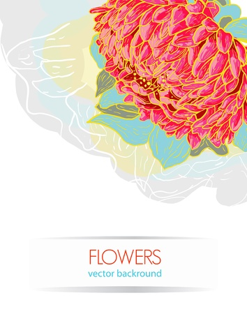 Abstract vector background with red drawing flower Vector