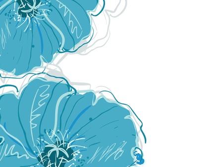 抽象典雅向量背景与蓝色花朵