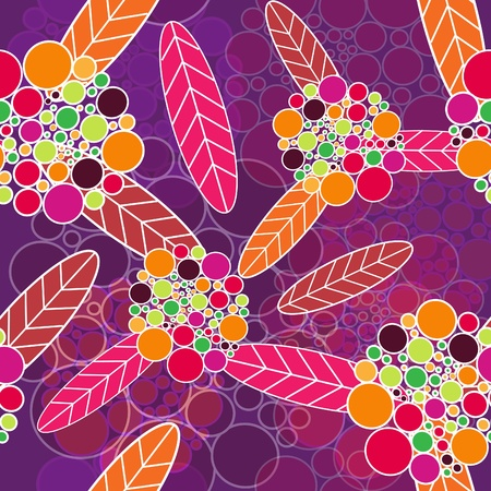 Abstract seamless  vector texture with bright flowers Vector