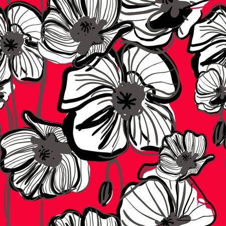 Abstract seamless vector dark pattern with red poppy Vector
