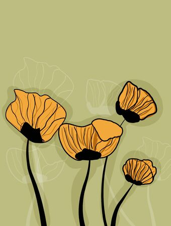 Abstract gray vector background with yellow poppies Stock Vector - 9997111