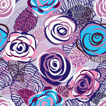 Abstract seamless lilac vector texture with bright drawing roses Vector