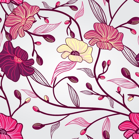 Abstract light vector  background with drawing flowers Stock Vector - 10002958