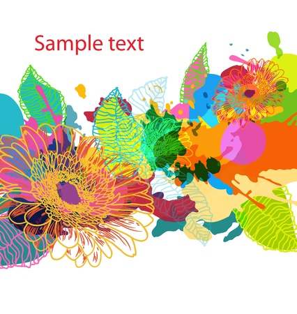 splash color: Abstract vector backround floral grungy luminoso