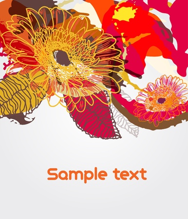natural color: Abstract vector floral grungy bright backround