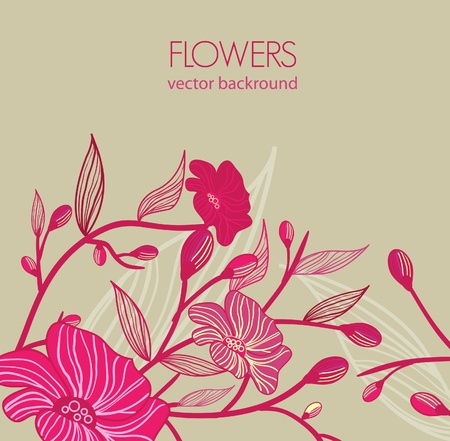 Abstract gray vector  background with drawing flowers Vector