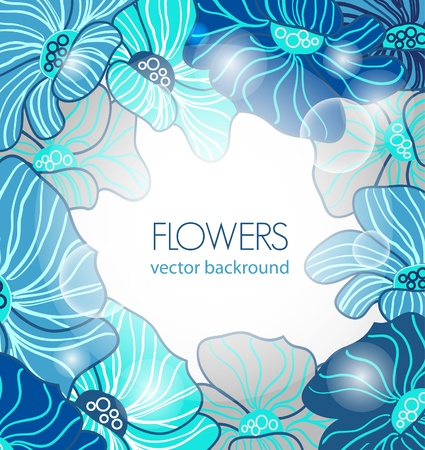 Abstract vector backgroud with blue flowers Illustration