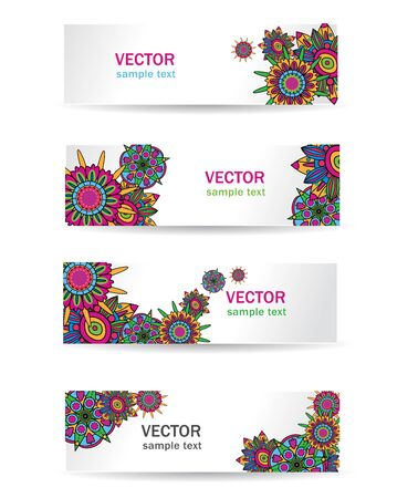 energy market: Abstract blight vector  banners with drawing bright flowers