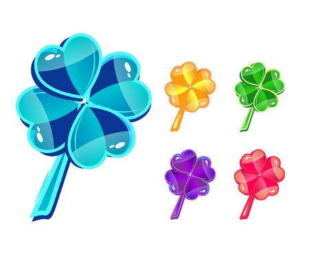 four leafed: Vector set with glass multicolor clovers