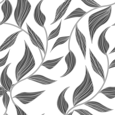 pattern: Abstract seamless vector pattern with drawing leafs