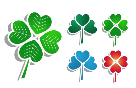 Vector illustration with clover leafs Stock Vector - 10002951
