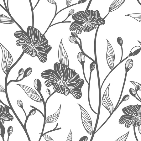 baroque wallpaper: Abstract light vector  background with drawing gray flowers Illustration