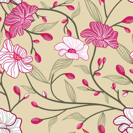 Abstract seamless vector light pattern with  pink flowers Vector