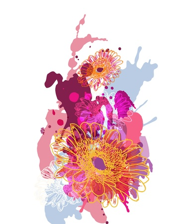 blobs: Abstract vector illustration with splash and flowers Illustration