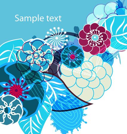 aqua flowers: Abstract vector floral grungy bright backround