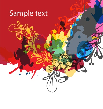 aqua flowers: Bright floral background with drawing pattern ans splashes