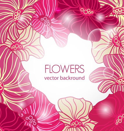 Abstract pink vector  background with drawing flowers Vector