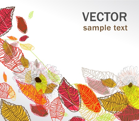 Vector background with multicolor bright drawing leafs Vector