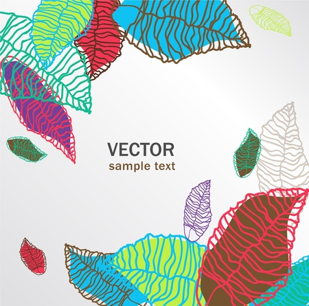 Abstract  vector background with bright leafs Stock Vector - 10062805