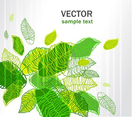 Abstract light vector background with green leafs Stock Vector - 10062768