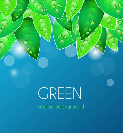 Abstract blue vector  background with green leafs Stock Vector - 10062764