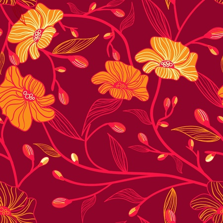 Abstract vector seamless texture with bright drawing flowers Vector