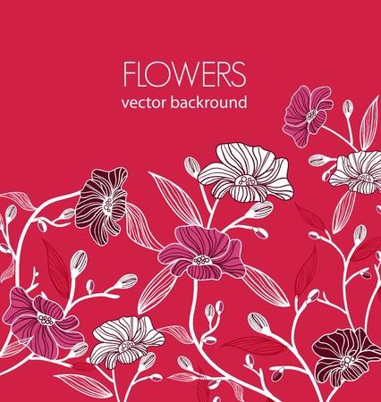 flores chinas: Fondo de color rosado brillante vectorial con flores dibujo multicolores