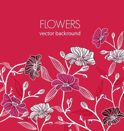 Vector bright pink background with multicolor drawing flowers  Vector