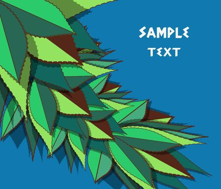 Vector blue background with green drawing agave leafs Vector