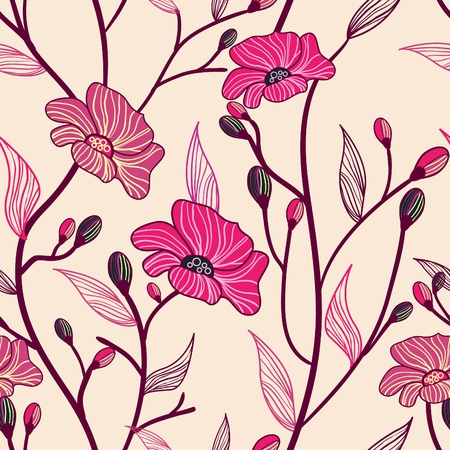 floral print: Vector seamless texture with red drawing flowers