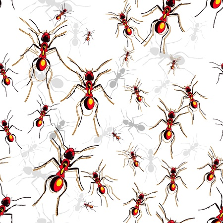 Vector seamless texture with multicolor drawing ants Vector