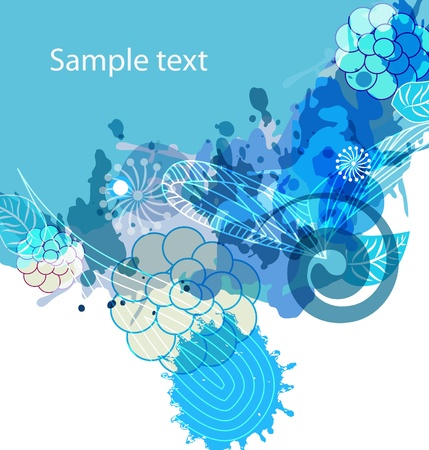 abstract vector floral multicolor background with  blue splash Vector