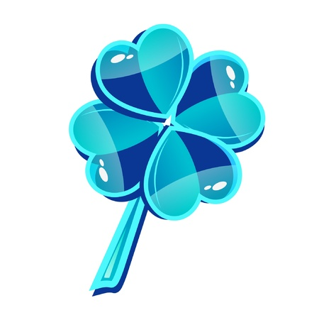 four leafed: Abstract vector blue glass clover symbol