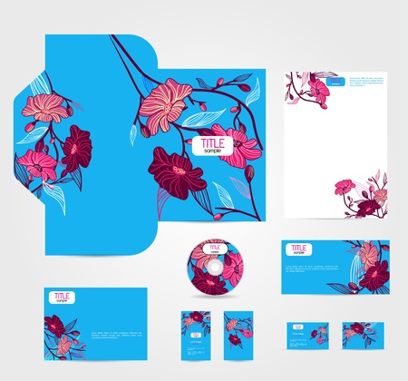 Blue corporate style with pink flowers Vector