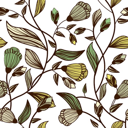 canvas print: Vector abstracto textura perfecta con flores de dibujo