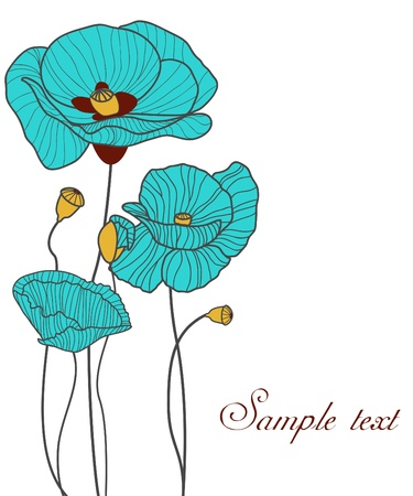 Blue poppies Vector