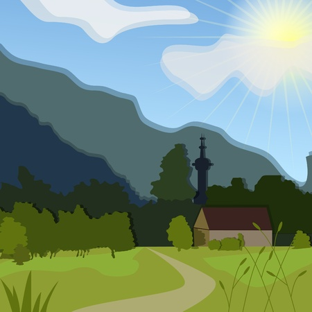 spring cleaning: Vector rural landscape with green meadow and house
