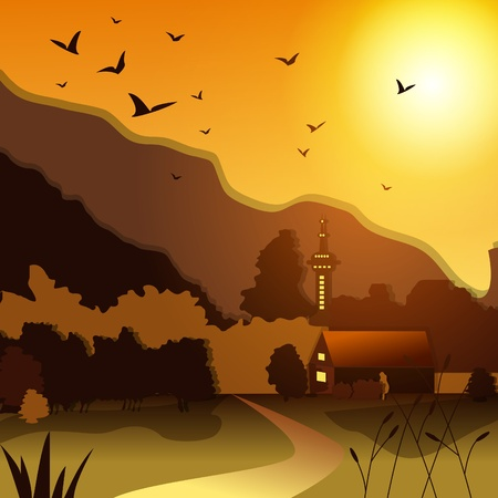 Sunset landscape vector: Vector illustration with rural landscape at sunset