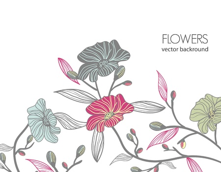 Vector background with old fashioned drawing flowers