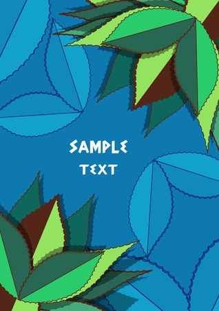blue background with green drawing agave leafs Vector