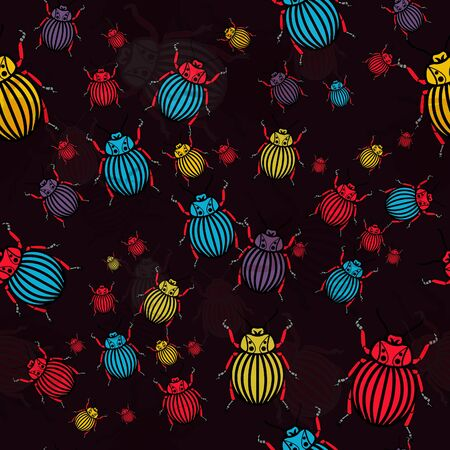 drawing on the fabric: seamless texture with multicolor drawing bugs Illustration
