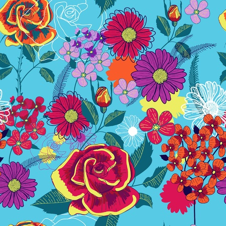 canvas print: Garden pattern Illustration