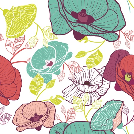 poppy leaf: Floral pattern