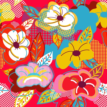Abstract vector seamless texture with red drawing flowers