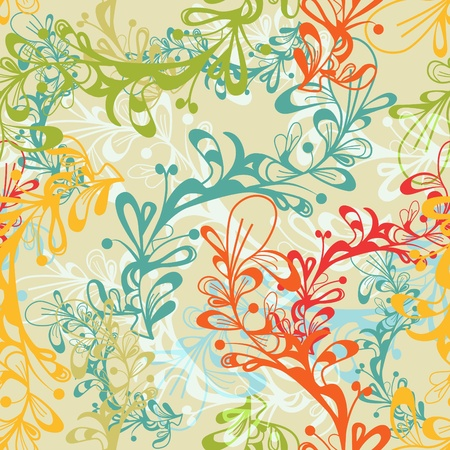 blue damask: Abstract seamless texture with multicolor fantastic plants Illustration