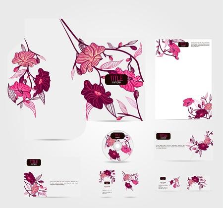 Vector corporate identity con bellissimi fiori Vettoriali